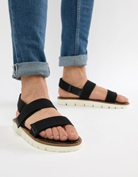 Asos Design Sandals In Black Tape With White Sole