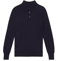 Anderson And Sheppard Merino Wool Polo Shirt Blue