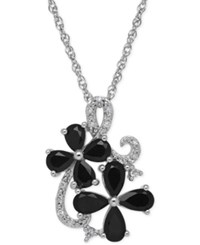 Macy's Onyx 1 1 4 Ct. T.W. And Diamond Accent Flower Pendant Necklace In Sterling Silver