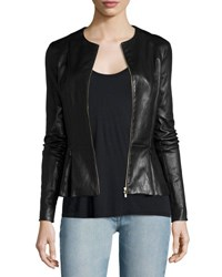 The Row Anasta Zip Front Leather Jacket Black