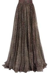 Jenny Packham Glittered Tulle Maxi Skirt Metallic