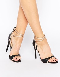 Forever Unique Pisa Barely There Leather Heeled Sandals Black