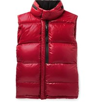 Moncler Alrance Quilted Shell Hooded Down Gilet Red
