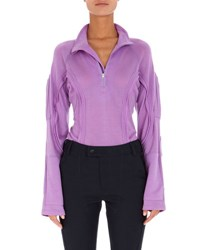 Atlein Long Sleeve Partial Zip Sweatshirt With Seaming Details Lilac