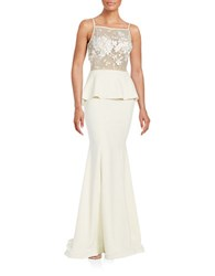 Nicole Bakti Embroidered Floral Peplum Gown Ivory
