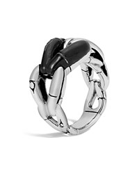 John Hardy Sterling Silver Bamboo Ring With Black Onyx Black Silver