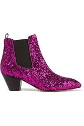Marc Jacobs Kim Sequined Leather Chelsea Boots Magenta