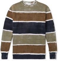 Aspesi Slim Fit Hand Painted Striped Cotton Sweater Multi