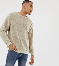 Soul Star Tall Teddy Crew Neck Jumper Cream