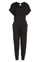 Loveappella Women's Short Sleeve Wrap Top Jumpsuit Black