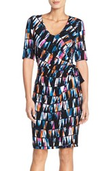 Women's Nydj 'Daniella' Print Jersey Faux Wrap Dress