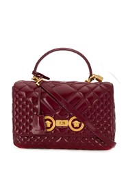 Versace Medium Quilted Icon Shoulder Bag Red