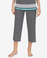 Ellen Tracy Printed Cropped Pajama Pants Black Print