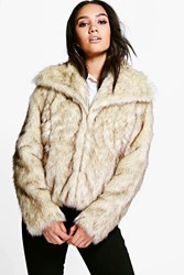 Boohoo Daniella Vintage Faux Fur Coat Cream