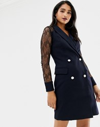 Morgan Tuxedo Dress With Sheer Lace Back In Navy