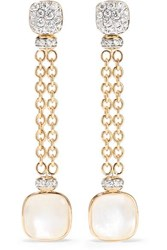 Pomellato 18 Karat Rose And White Gold Multi Stone Earrings Rose Gold