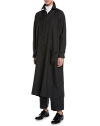 Eskandar Long Sleeve Slim A Line Shirtdress Charcoal