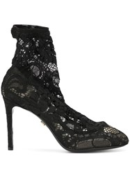 Dolce And Gabbana Stretch Lace Boots Black