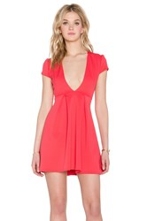 Twin Sister Plunge Skater Dress Coral