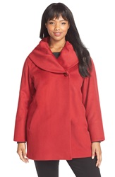 Cinzia Rocca Ruched Collar Wool Coat Plus Size Red