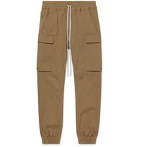 Rick Owens Slim Fit Tapered Cotton Blend Cargo Trousers Brown