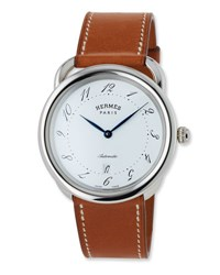 Herm S Acreau Tgm Watch With Barenia Leather Strap