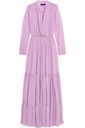 Saloni Alexia Swiss Dot Chiffon Maxi Dress Lilac