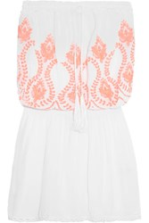Melissa Odabash Fruley Crochet Trimmed Embroidered Voile Dress White