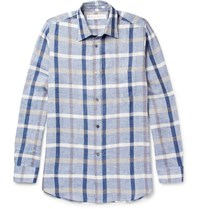 Private White V.C. Checked Linen And Cotton Blend Shirt Blue