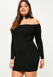 Missguided Plus Size Black Ribbed Off Shoulder Mini Jumper Dress