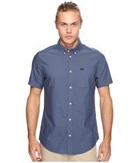 Rvca That'll Do Oxford Short Sleeve Woven Blue Slate Men's Short Sleeve Button Up