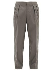 The Row Mark Pleated Wool Twill Suit Trousers Dark Grey