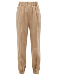 Hillier Bartley Pinstriped High Rise Wool Blend Trousers Beige Multi