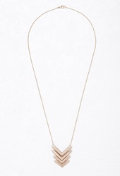 Forever 21 Cutout Chevron Pendant Necklace Gold