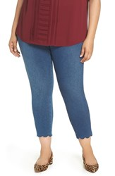 Lysse Plus Size Scallop Hem Denim Leggings Mid Wash
