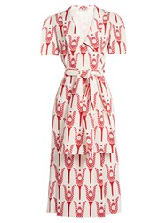 Miu Miu Tulip Print Crepe Midi Dress Red White