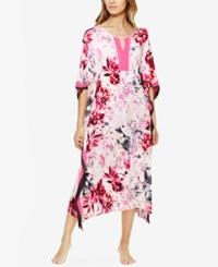 Ellen Tracy Contrast Trimmed Printed Knit Caftan Pink Bouquet