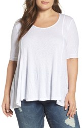 Three Dots Plus Size Women's Seamed Elbow Sleeve Tee