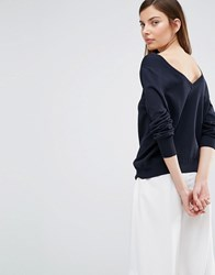 Selected Penna Deep Back Knitted Pullover Dark Sapphire Navy