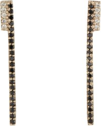 Monique Pean Women's Black Diamond Bar Earrings Colorless