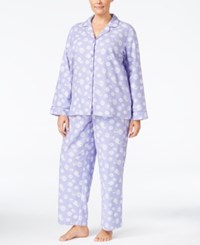 Charter Club Plus Size Printed Flannel Pajama Set Only At Macy's Lilac Sheep