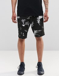 Religion Jersey Shorts With Plant Print Set Black
