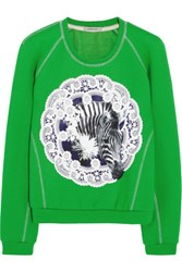 Emma Cook Appliqued Cotton Jersey And Silk Sweatshirt Green