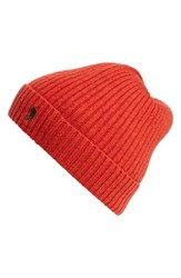 Men's Polo Ralph Lauren Cashmere And Wool Rib Knit Beanie Red Camden Red Heather