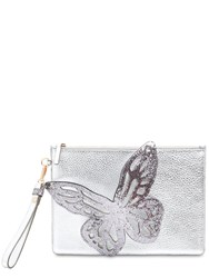 Sophia Webster Flossy Butterfly Metallic Leather Pouch Silver
