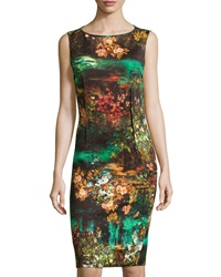 Teri Jon Floral Print Sleeveless Cocktail Dress Brown Multi