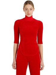 Vetements Juicy Cotton Velvet Turtleneck Top