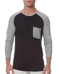 2Xist Baseball Raglan Sleeve Crewneck Shirt Black