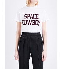 Ganni Space Cowboy Cotton Jersey T Shirt White
