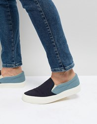 Asos Design Slip On Plimsolls In Two Tone Chambray And Navy Blue